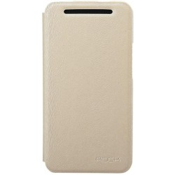 Cover Rock Big city side flip leather case HtC One M7 Crema